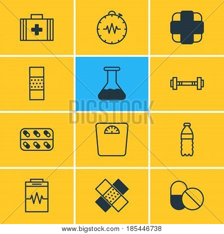 Vector Illustration Of 12 Health Icons. Editable Pack Of Pressure Gauge, Plastic Bottle, Patch And Other Elements.