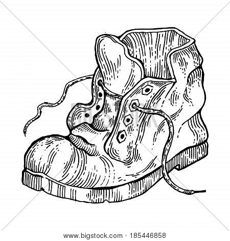 Old shabby boot engraving vector illustration. Scratch board style imitation. Hand drawn image.