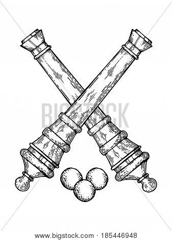Vintage cannons and cores engraving vector illustration. Scratch board style imitation. Hand drawn image.
