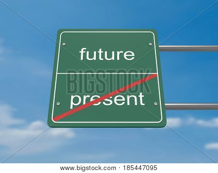Business Innovation Concept Road Sign: Future Instead of Present 3d illustration