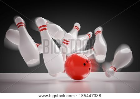 3D Rendered Illustration Of Bowling Ball Knocking Down All Pins