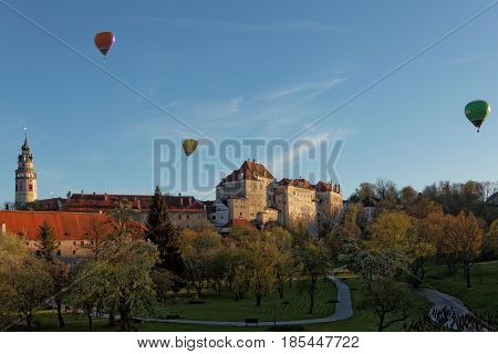 View of castle of Cesky Krumlov, ,old town on Unesco list