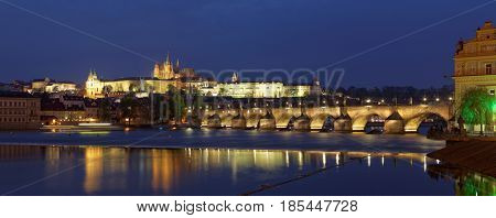 Prague panorama city skyline and Charles Bridge, Prague, Czech Republic
