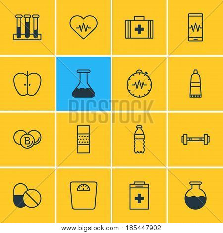 Vector Illustration Of 16 Health Icons. Editable Pack Of Experiment Flask, Band Aid, Exigency Elements.