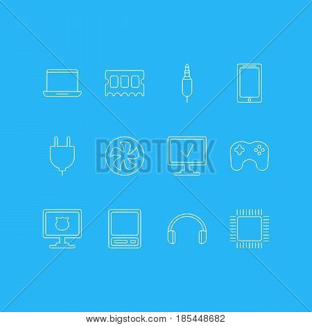 Vector Illustration Of 12 Notebook Icons. Editable Pack Of Input Jack, Notebook, Pda And Other Elements.