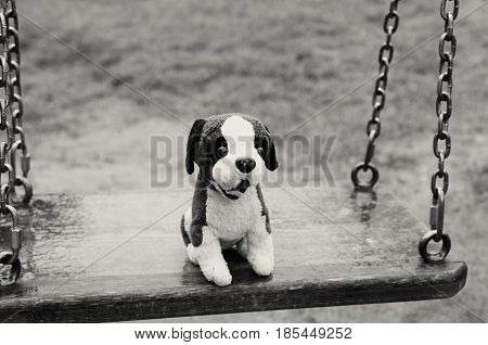 Empty swings. Favorite soft toy. The Lost Child
