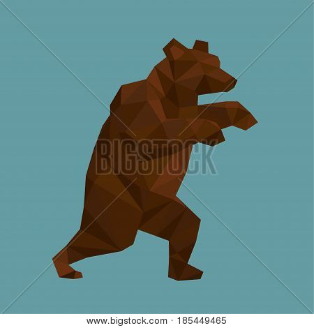 Geometric trade bear. Low poly Vector illlustration.