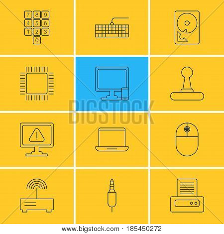 Vector Illustration Of 12 Laptop Icons. Editable Pack Of Qwerty Board, Number Keypad, Cursor Manipulator And Other Elements.