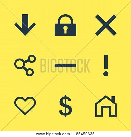 Vector Illustration Of 9 User Icons. Editable Pack Of Mainpage, Padlock, Downward And Other Elements.