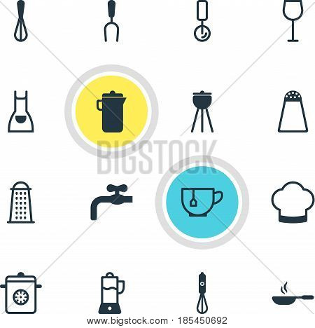 Vector Illustration Of 16 Kitchenware Icons. Editable Pack Of Wine, Smock, Steamer And Other Elements.