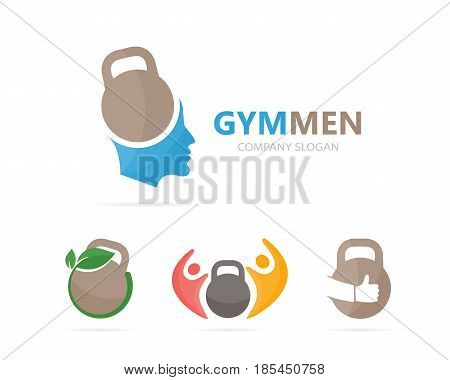 Vector of sport and man logo combination. Gym and face symbol or icon. Unique fitness and workout logotype design template.