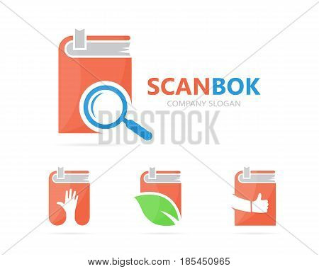 Vector of book and loupe logo combination. Library and magnifying glass symbol or icon. Unique bookstore and search logotype design template.