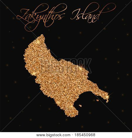 Zakynthos Island Map Filled With Golden Glitter. Luxurious Design Element, Vector Illustration.