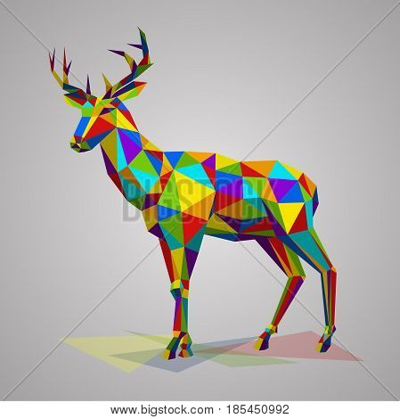 Colorful deer with horns. Vector illustration in polygonal style. Variegated forest animal on white background.