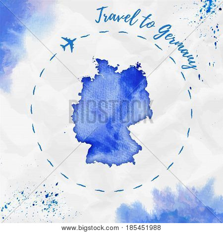 Germany Watercolor Map In Blue Colors. Travel To Germany Poster With Airplane Trace And Handpainted