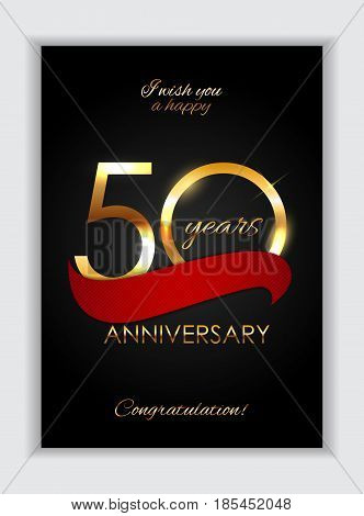 Template 50 Years Anniversary Congratulations Vector Illustration EPS10