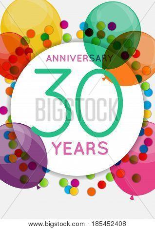 Template 30 Years Anniversary Congratulations, Greeting Card, Invitation Vector Illustration EPS10