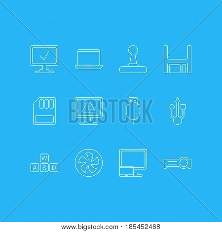 Vector Illustration Of 12 Laptop Icons. Editable Pack Of Diskette, Warning, Tablet With PC And Other Elements.