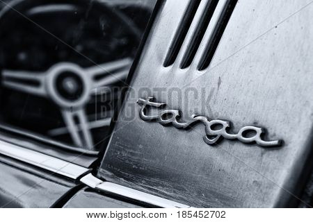 Berlin, Germany - May 11: Detail Of The Porsche 911 Targa 2,4 T Close-up, (black And White),