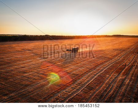 Aerial View Of Combine Harvester Agriculture Machine Harvesting Golden Ripe Wheat Field