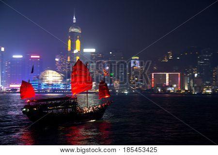 Traditional Dragon Boat in Hong Kong Harbor