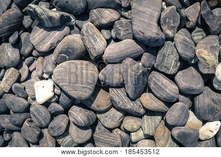 Abstract background with black and gray sea pebbles - round sea stones texture.