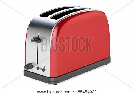 Red toaster 3D rendering isolated on white background
