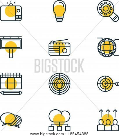 Vector Illustration Of 12 Social Icons. Editable Pack Of Fm Broadcasting, Lamp, Advertising Billboard And Other Elements.