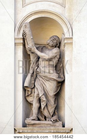 ROME, ITALY - SEPTEMBER 03: Saint Andrew by Luca Breton on the facade of Santi Claudio e Andrea dei Borgognoni church in Rome, Italy on September 03, 2016.