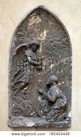 ROME, ITALY - SEPTEMBER 03: Agony in the garden, bass relief in Basilica of Saint Sylvester the First (San Silvestro in Capite) in Rome, Italy on September 03, 2016.