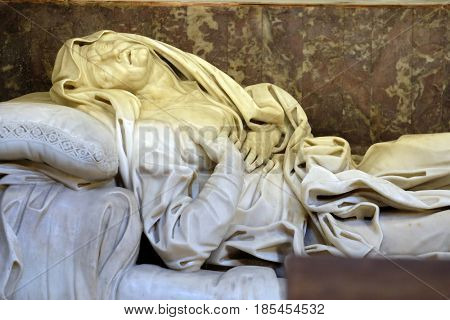 ROME, ITALY - SEPTEMBER 03: The Ecstasy of Saint Anne is a sculpture created by Giovanni Battista Maini and displayed at Basilica di Sant Andrea delle Fratte, Rome, Italy on September 03, 2016.