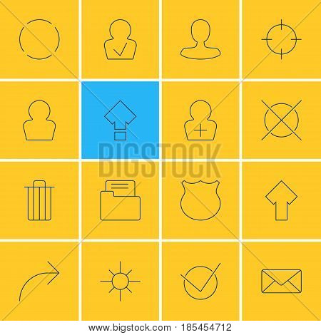 Vector Illustration Of 16 Interface Icons. Editable Pack Of Dossier, Man Member, Share And Other Elements.