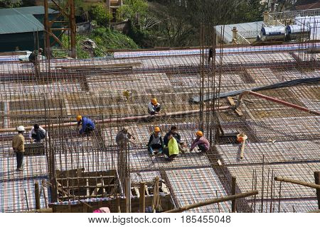 Sa Pa, Vietnam - March 12, 2017: Construction site in Sapa,  Lao Cai province, Vietnam.