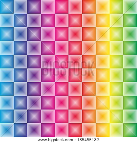 Colorfoul Rainbow Gradient With 3D Illusion Effect Square Light Pattern