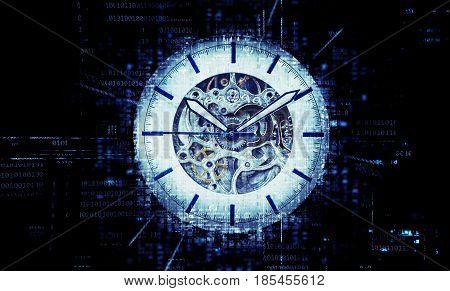 Blue mehanic analog watch on Digital Data background. Timeline concept