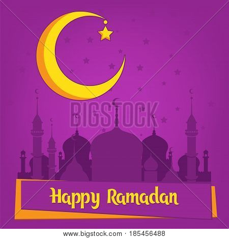 Greeting card template for muslim holiday with flat islamic mosque and crescent moon. Traditional Ramadan Kareem month celebration.