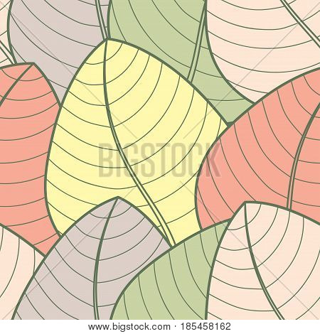 Seamless pattern on leaves theme Autumn seamless pattern with colored leaf