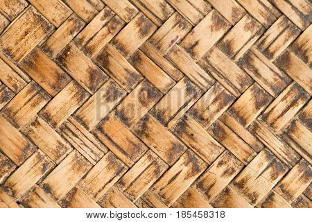 Close Up brown bamboo weave pattern background