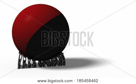 3D illustration. Antifa flag in a ball crushing the words free speech