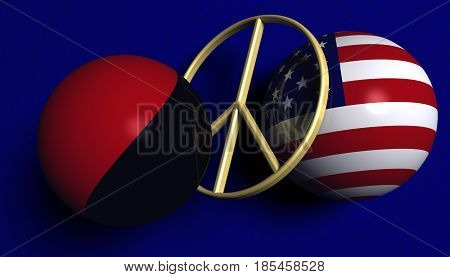 3D illustration. USA flag and an Antifa flag in balls with a peace sign