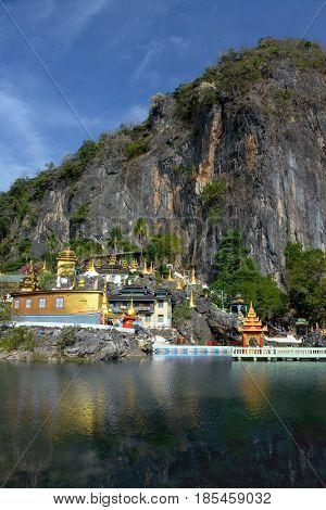 Beautiful View Of Bayin Nyi (begyinni) Complex  In Hpa-an, Myanmar. Buddhist Temple, Monastery And G