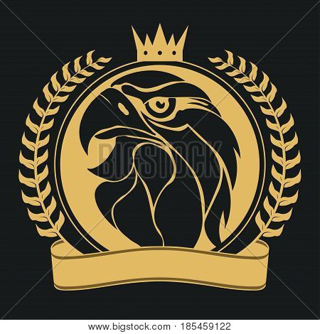 Eagle head with crown, laurel wreath and ribbon, royal badge. Golden luxury emblem, Hawk mascot Sport wear typography emblem graphic, athletic apparel stamp. Portrait of a bald eagle. Vector