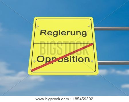 Germany Politics News Concept Road Sign: Regierung und Opposition Meaning Government And Opposition In German Language 3d illustration