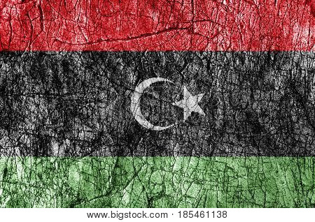 Grudge stone painted Libya flag close up