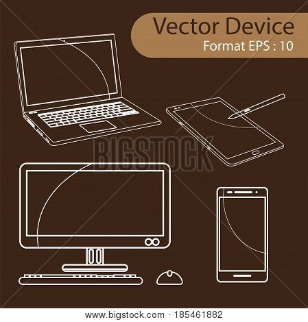 Set of Digital devices computer monitors, laptops, tablets and mobile phones. Electronic gadgets isolated, vector illustration.