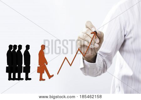Businessman draw growing Arrow graph success of a leader Leadership concept