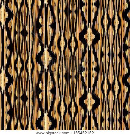 golden Ikat Ogee on black background - Ethnic folk seamless pattern. Boho Style