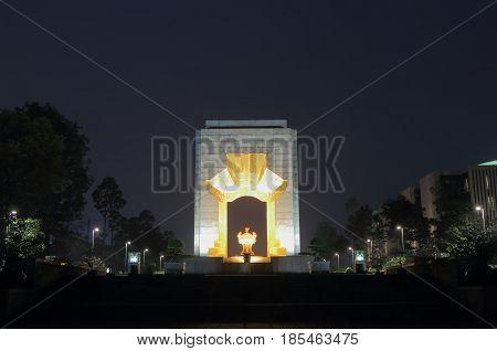 HANOI VIETNAM - NOVEMBER 23, 2016: Vietnam War Memorial night scape in Hanoi Vietnam
