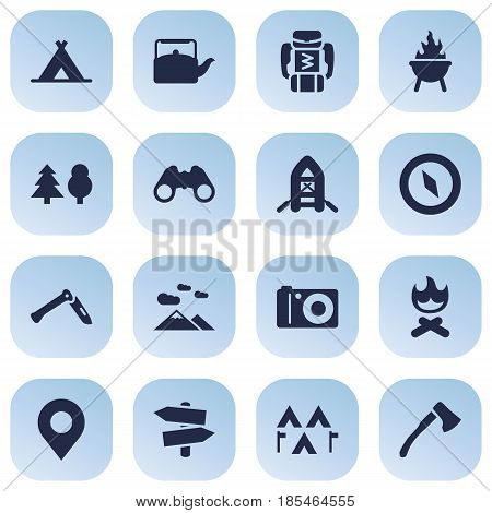Set Of 16 Outdoor Icons Set.Collection Of Landscape , Inflatable Raft, Jackknife Elements.