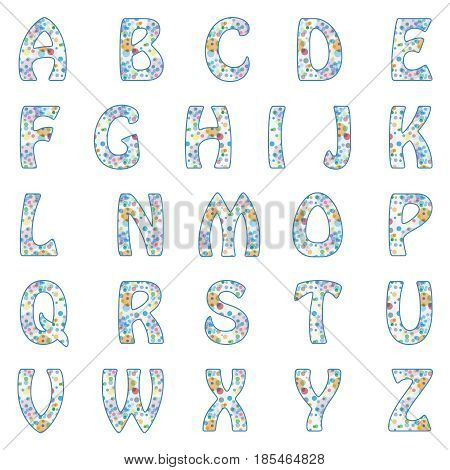 Vector Alphabet with retro dots and circles pattern.